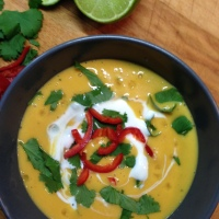 butternut and peanut butter soup with chilli and ginger