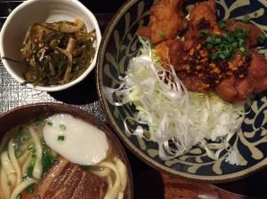Ramen, spicy chicken and miso