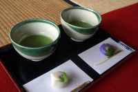 matcha green tea and sweet delicacy