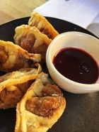 Fried duck gyoza
