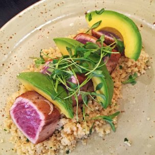 Tuna Tataki with avocado and citrus cous cous, COAST, LA.