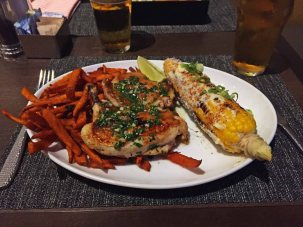 Lime Chicken and sweet potato fries, Urban Tavern, LA